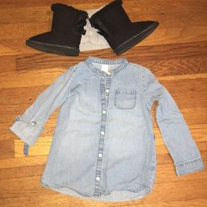 Carters size 5t jean dress button down